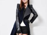 冬装新款 欧美毛呢大衣 显瘦长款呢大衣呢子夹棉加厚呢外套大衣女