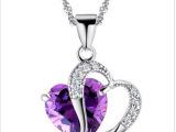 外贸单品  项链女短款锁骨 天然紫水晶浪漫爱心项链 X-117