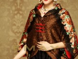 伊曼丝绸服饰中老年妈妈装真丝褶皱印花时尚披肩披风短装外套批发
