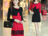 实拍2308粉红娃娃韩国经典宫廷女装假两件套蝴蝶结蕾丝长袖连衣裙