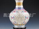 景德镇陶瓷 礼品陶瓷 陶瓷工艺品摆件 镂空花瓶 粉彩镂空瓶