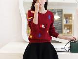 2014秋冬新款女装宽松羊毛针织衫女套头长袖秋季学院风毛衣批发