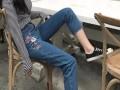 安徽蚌埠韩版修身刺绣花女士牛仔裤批发女式铅笔小脚裤一手货源