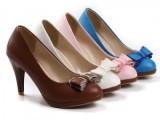 厂家直供 韩版时尚新款女鞋蝴蝶结高跟单鞋 鞋子代理加盟