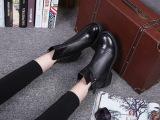 新款2015秋冬真皮短靴欧美风粗跟马丁靴平跟女靴明星款女鞋靴子