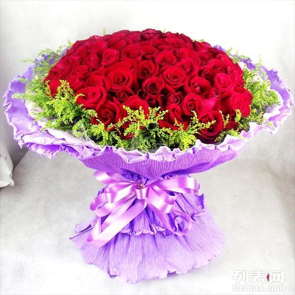 武汉鲜花速递99朵红玫瑰七夕情人节鲜花99朵玫瑰花束生日求婚鲜花