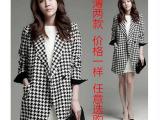 秋季新款女装韩版千鸟格大衣中长款小西装大码毛呢薄外套风衣