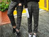 2014韩国情侣装小清新羊毛呢料情侣裤子男女格子呢裤显瘦裤长裤