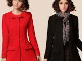 2014韩版女装 秋冬新款 简约纯色气质蝴蝶结女式毛呢大衣外套1