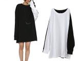 日系品牌女装黑白拼色长款个性卫衣女式纯棉宽松大码上衣原单正品