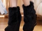 13冬季新款兔毛短靴坡跟防水台女靴绒里高
