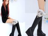 2014秋冬欧美内增高女靴松糕过膝靴子弹力长靴厚底高跟靴子女鞋潮