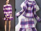 欧洲站2014秋冬新款女装格纹羊毛上衣+欧叶边半裙套装一件代发