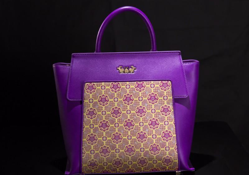 宋锦女士手提包 圆福纹(紫色)