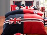 超柔保暖英伦风天鹅绒四件套活性印花米字旗套件家纺床上用品批发
