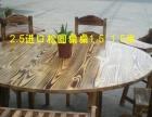 厂家定做:碳化木火锅餐桌,实木餐桌,长凳,短等,实木椅子,铁