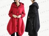 新款棉麻女装 复古大码秋冬装休闲女式风衣 森女亚麻连帽外套大衣
