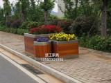 园艺防腐木不锈钢花箱,街头不锈钢木质花坛,室外种花的木花箱