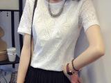 2015夏季韩版新款圆领短袖t恤菱形雪纺打底衫大码宽松上衣女