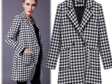 实拍女2014冬装新款欧洲站时尚长袖西装领加厚千鸟格大衣外套F3