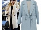厂家直销女装批发冬欧美毛呢外套 冬季正品款式直筒毛呢大衣女