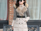 2014欧洲站冬新款羽绒服女中长款加厚修身拼接千鸟格貉毛领外套