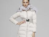 2013新欧美大牌明星同款狐狸毛披肩连帽子修身女中长款加厚羽绒服