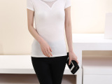 2014夏季女装新款 韩版网纱拼接丝光棉短袖t恤v领短袖女T恤打