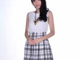 批发2014夏季新刘诗诗同款 简约雪纺背心+黑白条纹高腰短裙套装
