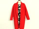 2015韩国代购春季新款长款红色茧形修身落肩袖小翻领羊绒大衣女款