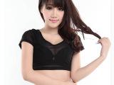 韩版显瘦前后单层网纱 半截短款打底衫女 短袖t恤潮露脐