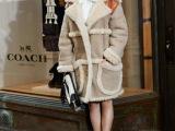 街拍走秀款 angelababy同款鹿皮绒拼接兔毛中长款外套大衣
