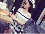 2014夏季新款欧美小名媛黑白拼色一字领露肩针织衫+羽毛短裙