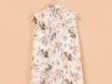 欧美风 夏季款 拼接无袖背心雪纺衬衫后背印花色 上衣女装