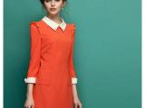 2014春装新款 韩版女装 翻领气质修身经典撞色连衣裙 C178
