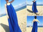 2015夏季新款无袖波西米亚雪纺连衣裙 吊带大码度假沙滩长裙女装