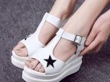现货销售真皮星星凉鞋欧洲站厚底松糕鞋坡跟女鞋单鞋款式多种