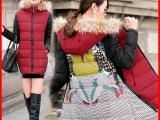 欧洲站时尚卡通印花中长款女棉衣 配真毛领连帽保暖棉衣拼色外套