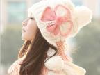 新款潮帽 蝴蝶结三球加厚毛线帽子女士针织帽子批发 套头秋冬帽子