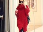 供应女装 韩版新款超大宽松毛衣外套 蝙蝠袖高领毛衣