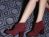 磨砂皮马丁靴潮女短靴短筒真皮及裸靴英伦风粗跟加绒高跟鞋秋冬ol
