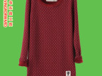 秋冬新款kakamee韩国小猫圆点圆领加绒打底衫中长款长袖打底衫