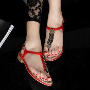 工厂直销 2014新款凉鞋平跟夹趾真皮金属铜钱装修女鞋凉鞋批发
