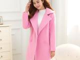 毛呢外套女2015秋冬新款韩版毛呢大衣女装修身显瘦中长款呢子大衣