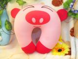 可爱卡通粉猪造型高弹PP棉粒子U型枕 U形枕护颈枕午睡枕电视枕