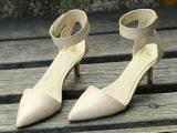夏季欧美时尚真皮凉鞋女 头层牛皮中跟女鞋 外贸原单魔术贴尖头鞋