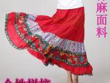 厂家直销淘宝民族风女装百搭长裙 亚麻拼接半身裙女式长裙代理