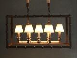 现代简约美式铁艺复古工业风创意餐厅吧台8头麻绳长方形吊灯