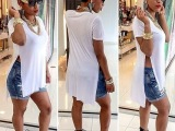 宣迪诺Sedrinuo欧美外贸速卖通爆款女士短袖T恤 个性夜店装