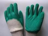 劳保浸胶手套 绒布皱纹半浸胶手套 图